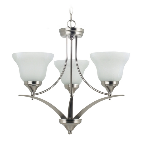 Sea Gull Lighting Chandelier with Alabaster Glass in Brushed Nickel Finish 31173-962