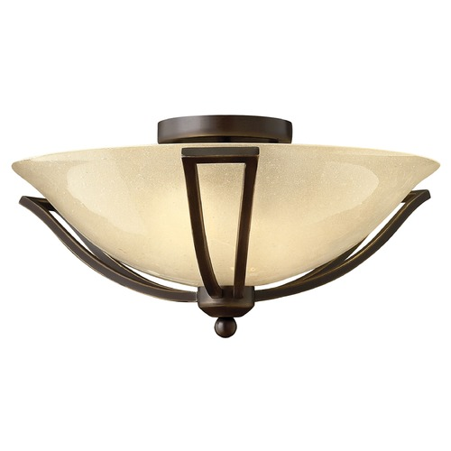 Hinkley Light Amber Seeded Glass Semi-Flushmount Light Bronze Hinkley 4660OB