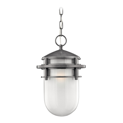 Hinkley Lighting Outdoor Hanging Light with White Glass in Hematite Finish 1952HE-GU24
