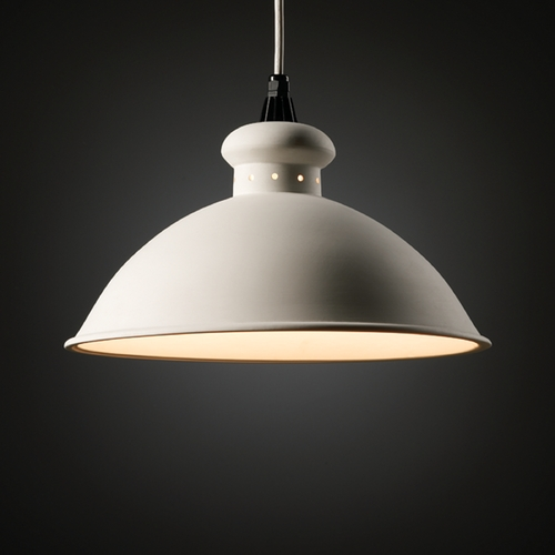 Justice Design Group Pendant Light with White Shade CER-6300-BIS