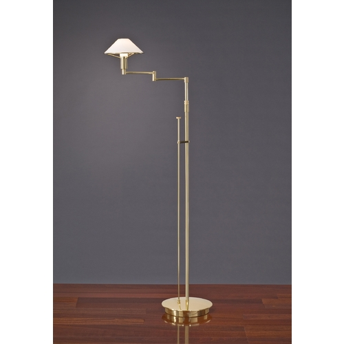 Holtkoetter Lighting Holtkoetter Modern Swing Arm Lamp with White Glass in Polished Brass Finish 9434 PB TRW