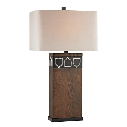 Dimond Lighting Table Lamp with Beige / Cream Shades in Antique Pine, Ob, Chrome Finish D2554