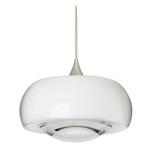 Besa Lighting Besa Lighting Focus Satin Nickel LED Mini-Pendant Light with Oblong Shade 1XT-2633CL-LED-SN