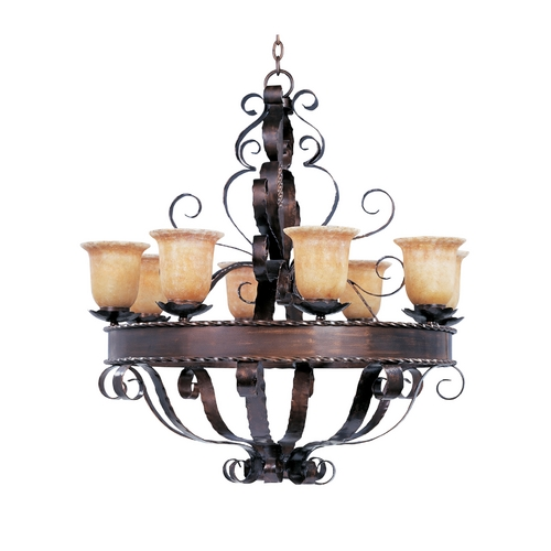 Maxim Lighting Chandelier with Amber Glass in Oil Rubbed Bronze Finish 20610VAOI