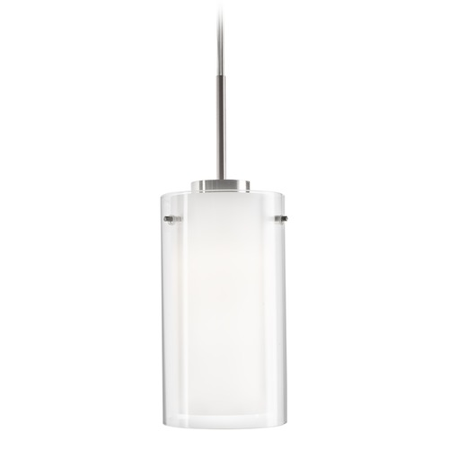 Kuzco Lighting Modern Brushed Nickel LED Mini-Pendant with Clear and White Shade 3000K 393LM PD41304-BN