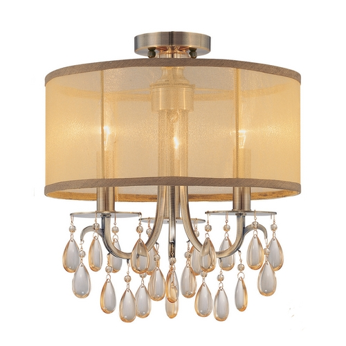 Crystorama Lighting Crystal Mini-Chandelier with Gold Shade in Antique Brass Finish 5623-AB