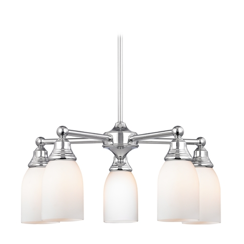 Design Classics Lighting Chandelier with White Glass in Polished Chrome Finish 597-26 GL1028D