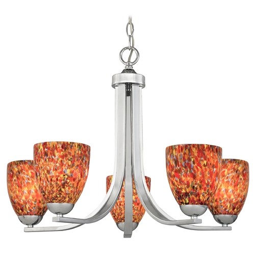 Design Classics Lighting Modern Chandelier with Art Glass in Polished Chrome Finish 584-26 GL1012MB