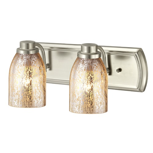 Design Classics Lighting Industrial Mercury Glass 2-Light Bath Bar in Satin Nickel 1202-09 GL1039D
