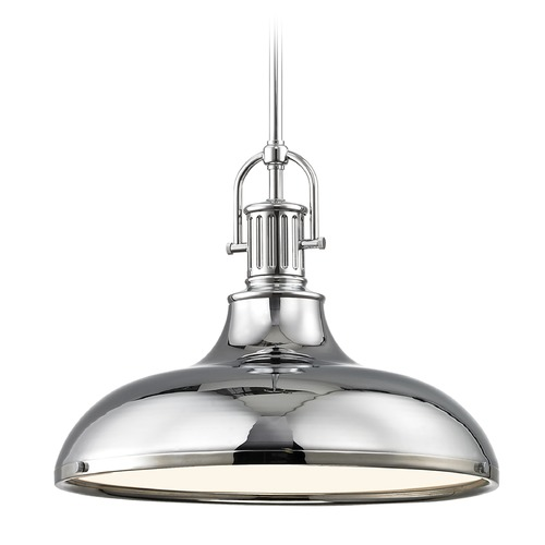 Design Classics Lighting Industrial Chrome Pendant Light with Metal Shade 15.63-Inch Wide 1764-26 SH1777-26 R1777-26