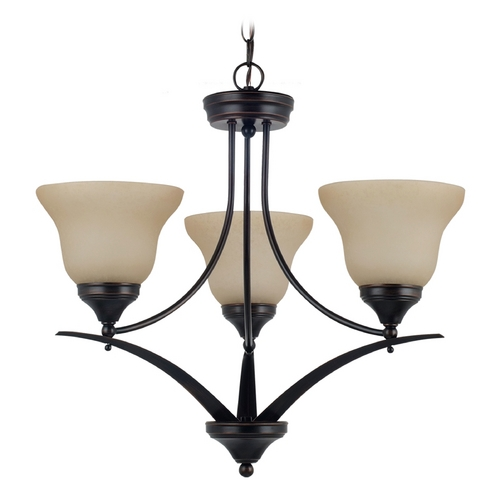 Sea Gull Lighting Chandelier with Amber Glass in Burnt Sienna Finish 31173BLE-710