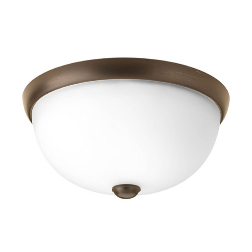 Progress Lighting Modern Flushmount Light with White Glass in Antique Bronze Finish P3997-20WB