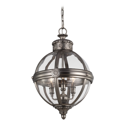 Feiss Lighting Feiss Lighting Adams Antique Nickel Pendant Light with Globe Shade P1294ANL