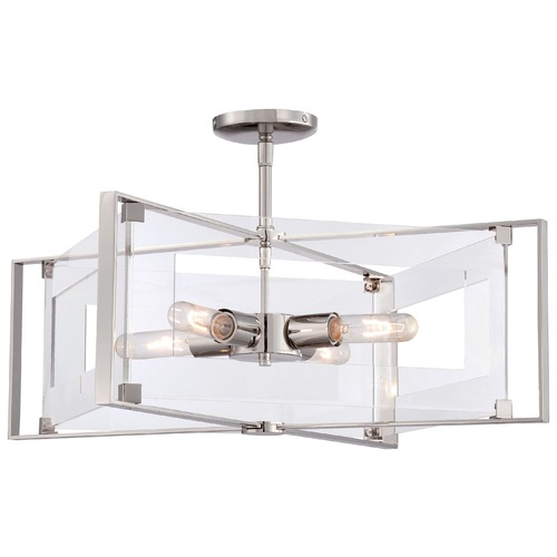 George Kovacs Lighting George Kovacs Crystal Clear Polished Nickel Semi-Flushmount Light P1403-613