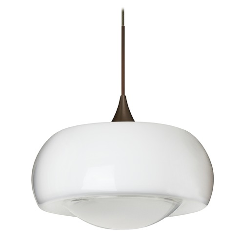 Besa Lighting Besa Lighting Focus Frosted Glass Bronze LED Mini-Pendant Light 1XT-2633FR-LED-BR
