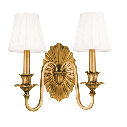 Hudson Valley Lighting Sconce Wall Light with White Shades in Aged Brass Finish 332-AGB