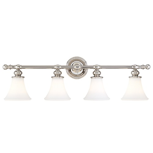 Hudson Valley Lighting Bathroom Light with White Glass in Polished Nickel Finish 4504-PN