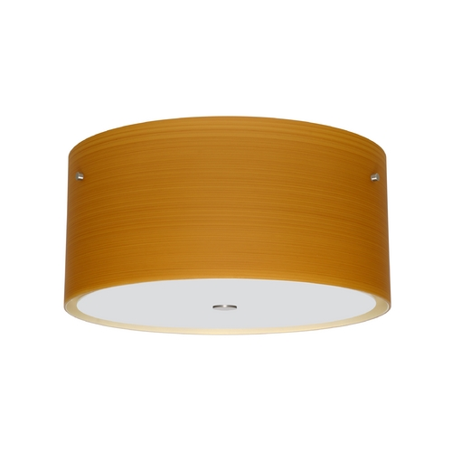 Besa Lighting Modern Flushmount Light with Brown Glass in Satin Nickel Finish 1KM-4008OK-SN