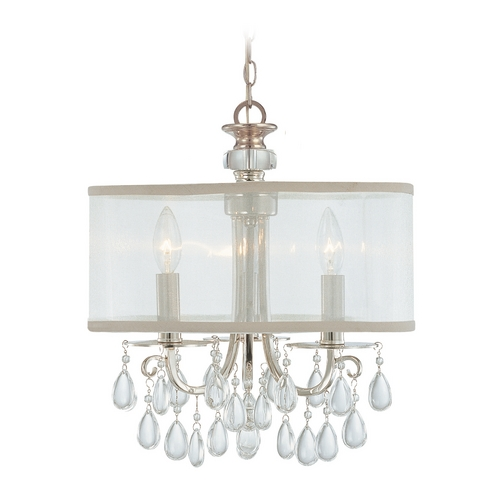 Crystorama Lighting Crystal Mini-Chandelier with White Shade in Polished Chrome Finish 5623-CH