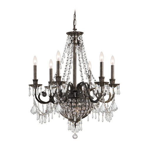 Crystorama Lighting Crystal Chandelier in English Bronze Finish 5166-EB-CL-MWP