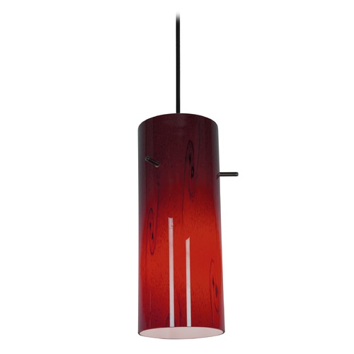 Access Lighting Access Lighting Sydney Cylinder Oil Rubbed Bronze Mini-Pendant with Cylindrical Shade 28030-1C-ORB/RED