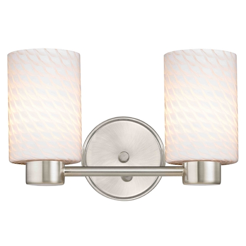 Design Classics Lighting Aon Fuse Art Glass Satin Nickel Bathroom Light with Cylinder Glass 1802-09 GL1020C