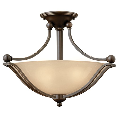 Hinkley Lighting Light Amber Seeded Glass Semi-Flushmount Light Bronze Hinkley Lighting 4651OB