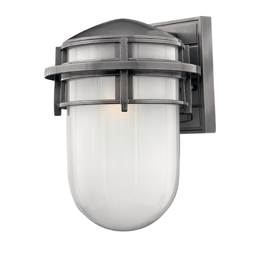 Hinkley Lighting Outdoor Wall Light with White Glass in Hematite Finish 1954HE-GU24