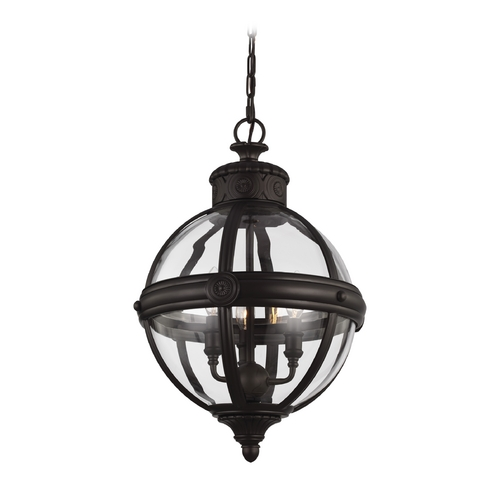 Feiss Lighting Feiss Lighting Adams Oil Rubbed Bronze Pendant Light with Globe Shade P1294ORB