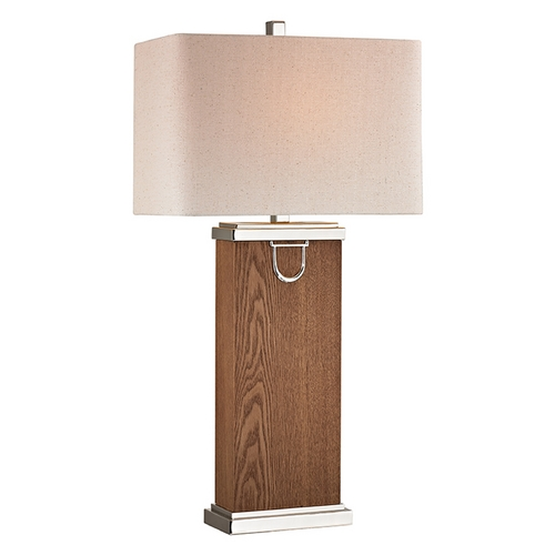Dimond Lighting Table Lamp with Beige / Cream Shades in Dark Walnut, Polish Nickel, Chrome Finish D2555