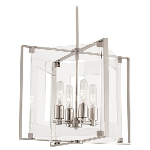 George Kovacs Lighting George Kovacs Crystal Clear Polished Nickel Pendant Light with Rectangle Shade P1404-613