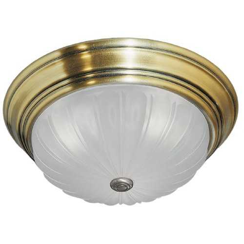Quoizel Lighting Flushmount Light with White Glass in Antique Brass Finish ML183A