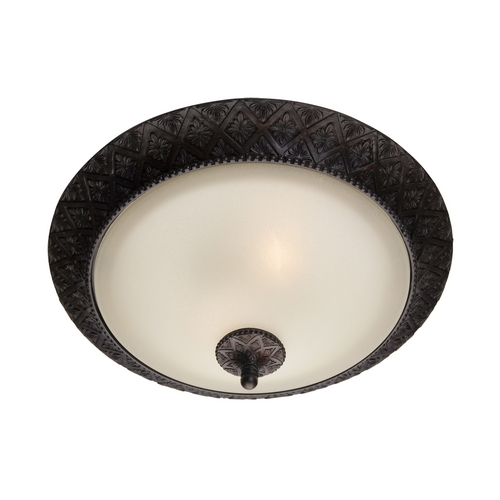 Maxim Lighting Flushmount Light with Beige / Cream Glass in Oil Rubbed Bronze Finish 11240SVOI