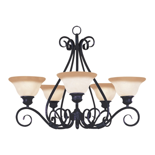 Maxim Lighting Chandelier with Beige / Cream Glass in Kentucky Bronze Finish 2655WSKB
