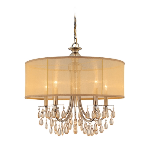 Crystorama Lighting Crystorama Antique Brass Hampton 5-Light Chandelier  5625-AB