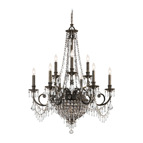 Crystorama Lighting Crystal Chandelier in English Bronze Finish 5168-EB-CL-MWP