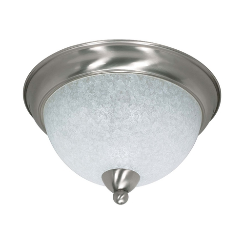 Nuvo Lighting Modern Flushmount Light with White Glass in Brushed Nickel Finish 60/131