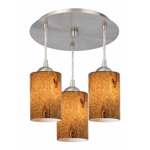 Design Classics Lighting 3-Light Semi-Flush Light with Brown Art Glass - Nickel Finish 579-09 GL1001C