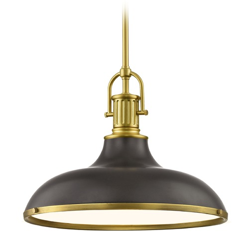 Design Classics Lighting Industrial Bronze Pendant Light with Brass 15.63-Inch Wide 1764-12 SH1777-220 R1777-12