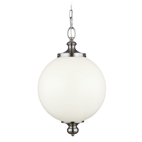 Feiss Lighting Feiss Lighting Parkman Brushed Steel Pendant Light with Globe Shade P1295BS
