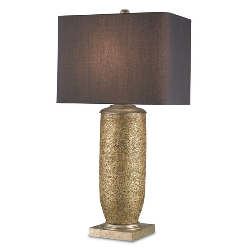 Currey and Company Lighting Currey and Company Lighting Gladwyne Gold Leaf / Antique Silver Leaf Table Lamp with Rectangle Shade 6959