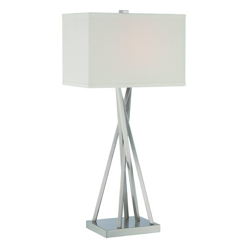 Lite Source Lighting Lite Source Frasco Polished Steel Table Lamp with Rectangle Shade LS-22453