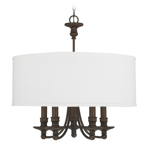Capital Lighting Capital Lighting Midtown Burnished Bronze Pendant Light with Drum Shade 3915BB-455