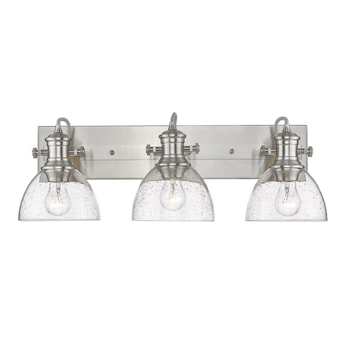 Golden Lighting Golden Lighting Hines Pewter Bathroom Light with Seeded Shade 3118-BA3PW-SD