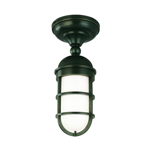 Hudson Valley Lighting Semi-Flushmount Light with White Glass in Old Bronze Finish 3011-OB