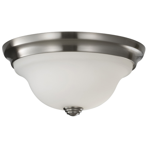 Feiss Lighting Modern Flushmount Light with White Glass in Brushed Steel Finish FM360BS