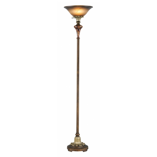 Lite Source Lighting Torchiere Lamp with Amber Glass in Antique Gold Finish C6334