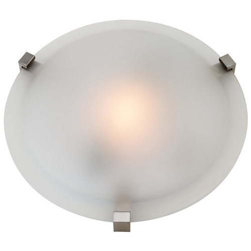 Access Lighting Modern Flushmount Light with White Glass in Satin Nickel Finish 50063-SAT/FST