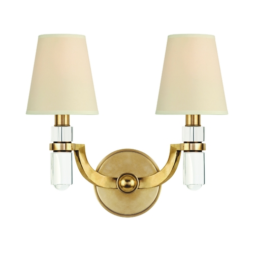 Hudson Valley Lighting Sconce Wall Light with Beige / Cream Paper Shades in Aged Brass Finish 982-AGB