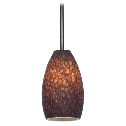 Access Lighting Modern Mini-Pendant Light with Brown Glass 28012-1R-ORB/BRST
